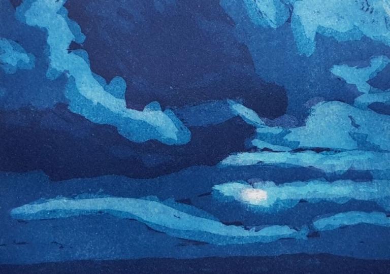 Lever de lune, aquatinte, 21x21